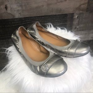 Coach Chelsey Leather Ballet Flats Pewter 10B